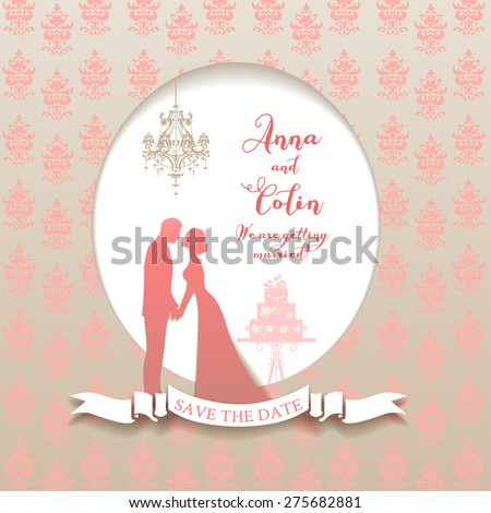 Wedding holiday card with bride and groom. Elegant wedding design for leaflet, cards, invitation and so on. Place for text. - stock vector