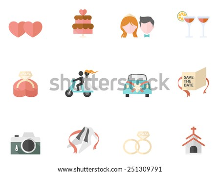 Wedding icon series in flat color style - stock vector