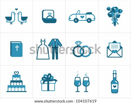 Wedding icon set for your products and projects, easy to edit, re-size and colorize - stock vector