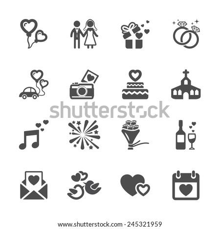 wedding icon set, vector eps10. - stock vector
