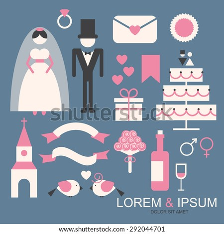 Wedding icon set. Vintage element collection. Vector illustration