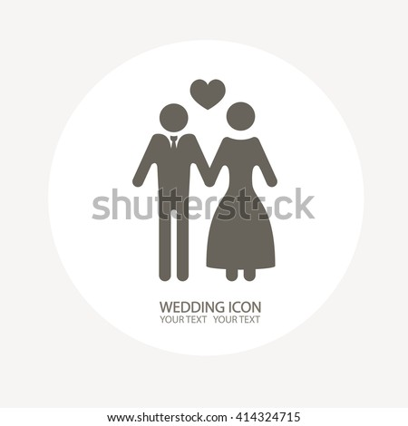 Wedding icon. The bride and groom for your design. Flat vector illustrations