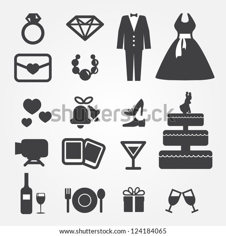 wedding icons - stock vector