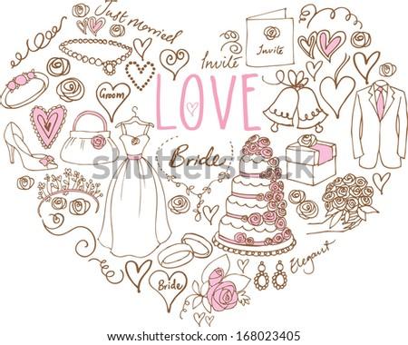 Wedding icons arranged in Heart shape - stock vector