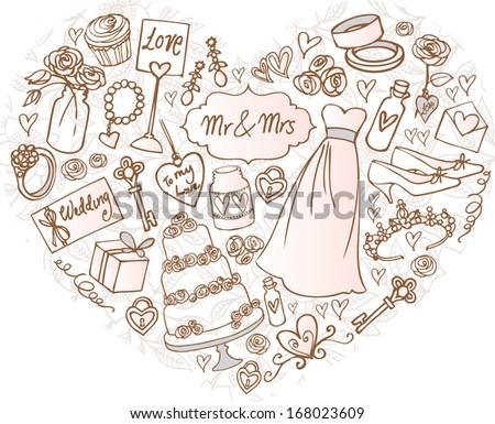 Wedding icons arranged in Heart shape - stock vector