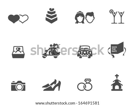 Wedding icons in single color - stock vector
