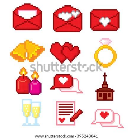 Wedding icons set. Pixel art. Old school computer graphic style. - stock vector