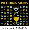wedding icons, signs, vector illustration - stock vector