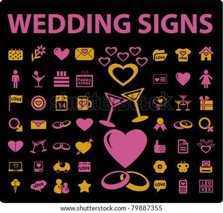 wedding icons, signs, vector illustrations - stock vector