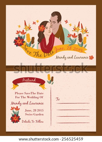 Wedding illustration Invitation/ Save The Date / Just Married Cards 1 - stock vector