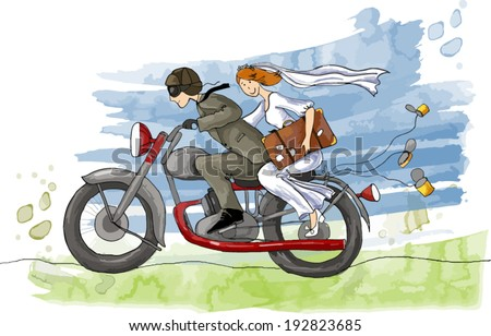 Wedding illustration. Just married. Groom and bride on the motorcycle ,Vector illustration - stock vector