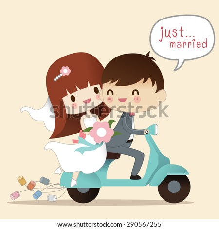 Wedding illustration. Just married. Groom and bride on the motorcycle ,Vector illustration