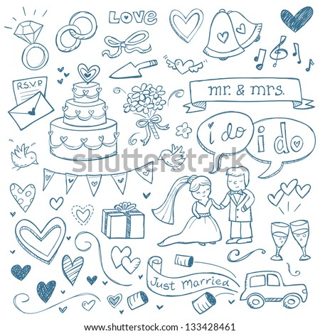 Wedding illustrations drawn in a doodled style. - stock vector