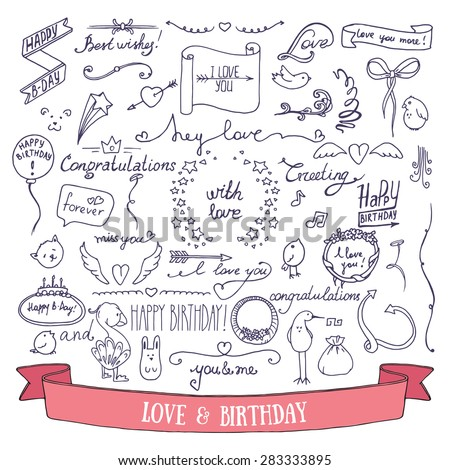 Wedding invitation and birthday card doodle signs and lettering. Collection of hand drawn vector birthday and wedding festive attributes. - stock vector