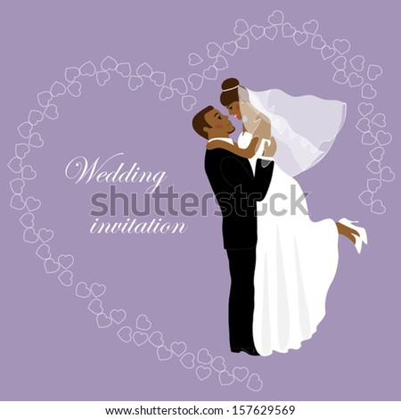 Wedding invitation as happy smiling african bride and groom - stock vector