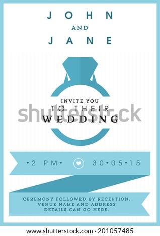 Wedding invitation blue ring theme - stock vector