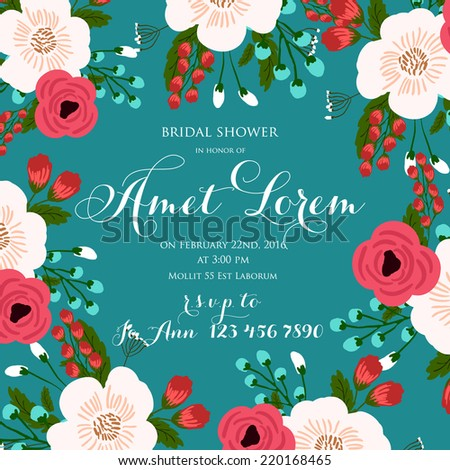 Wedding invitation card - stock vector