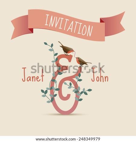 Wedding invitation card, birds and worm, eps10 vector - stock vector