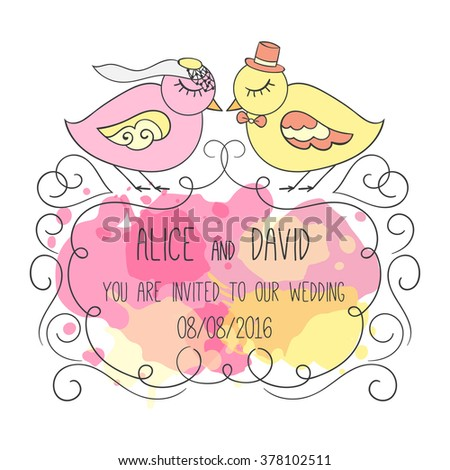 Wedding invitation card. Couple of birds in love. Romantic illustration of love. Hand drawn cartoon design. Colorful splashes on background. Ornamental frame for text.