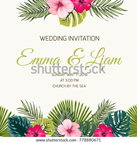 Wedding invitation card design template exotic stock vector royalty wedding invitation card design template exotic tropical greenery leaves and bright pink red purple hibiscus stopboris Image collections