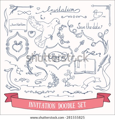 Wedding invitation card doodles vector set: hand drawn ribbons, borders, arrows, flowers, birds and other decorative elements. - stock vector