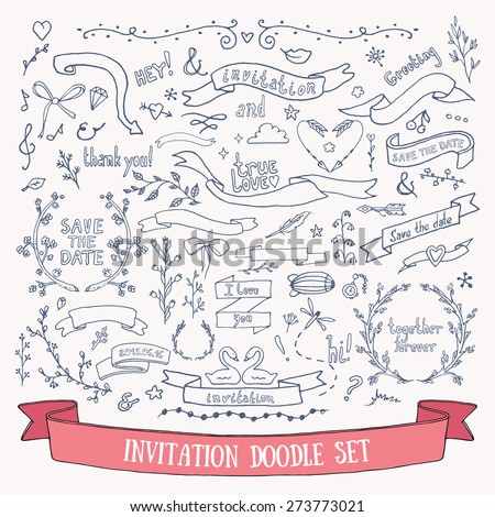 Wedding invitation card doodles vector set: hand drawn ribbons, borders, arrows, flowers, branches and other decorative elements. - stock vector