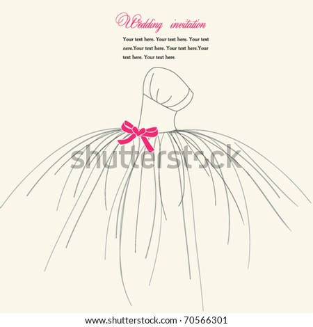 Wedding invitation card, dress with pink bow - stock vector