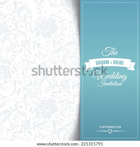wedding invitation card editable with background chevron, font, type, ribbons and heart vector - stock vector