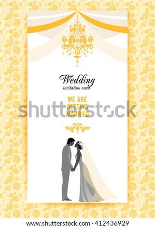 Wedding invitation card. Festive template for design banner, ticket, leaflet, card, poster, invitation  and so on. - stock vector