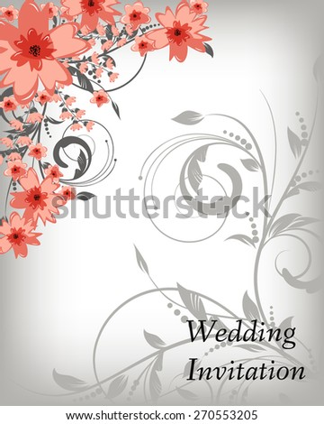 Wedding invitation card. Flowers abstract colorful background. Romantic Flower Background with place for your text.