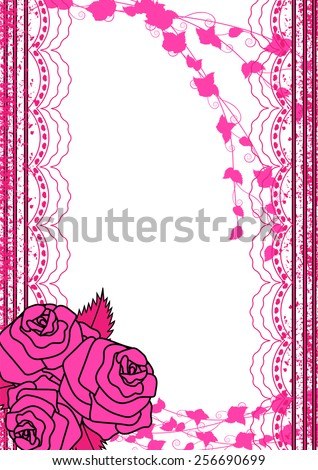 Wedding invitation-Card for invitation or greeting card with lace border - stock vector