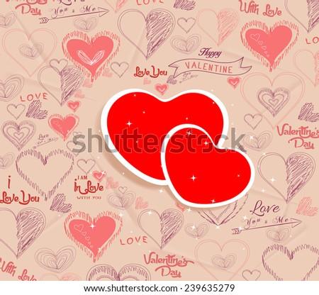 wedding invitation, card for Valentine Day - stock vector