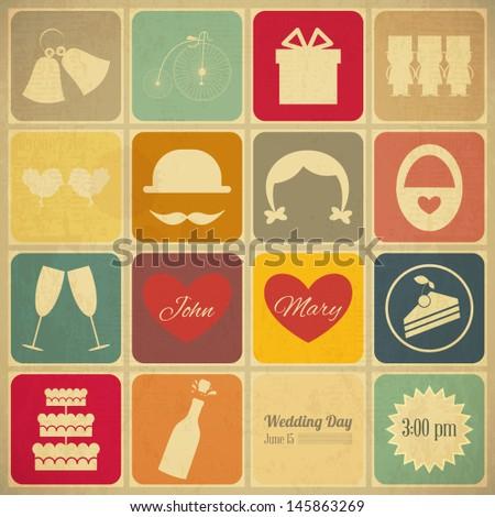 Wedding Invitation Card in Old Retro Graphics Style. Vintage Design, Square Format, Wedding Set. Vector Illustration. - stock vector