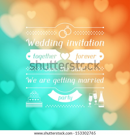 Wedding invitation card in retro style. - stock vector