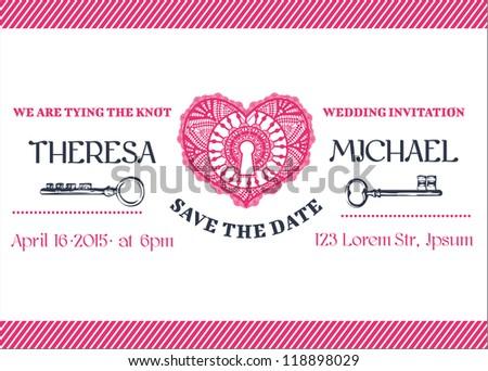 Wedding Invitation Card - Key Theme - in vector - stock vector