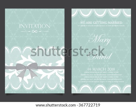 wedding invitation card, luxury vintage style design for sweet love bride and groom celebration day. vector illustration - stock vector