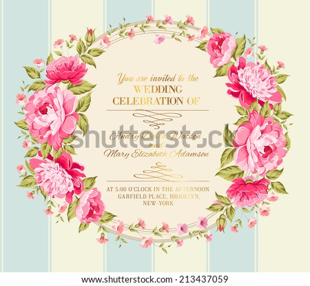 Wedding invitation card of color flowers. Vector illustration. - stock vector