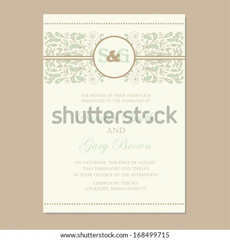 Wedding invitation card or announcement with beautiful floral ornament. - stock vector