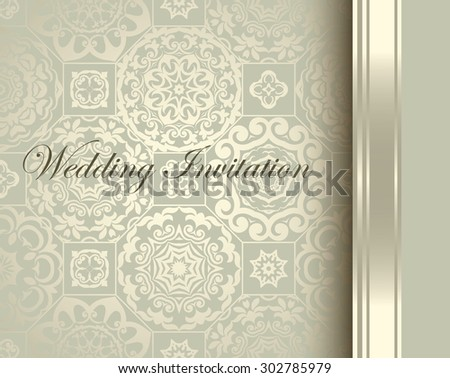 Wedding Invitation card, seamless  ornamental background - stock vector