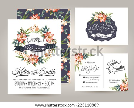 wedding invitation card suite with daisy flower Templates - stock vector