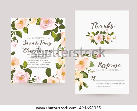 wedding invitation card suite with romantic light flower Templates - stock vector