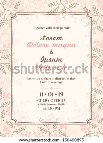 wedding invitation card template - stock vector