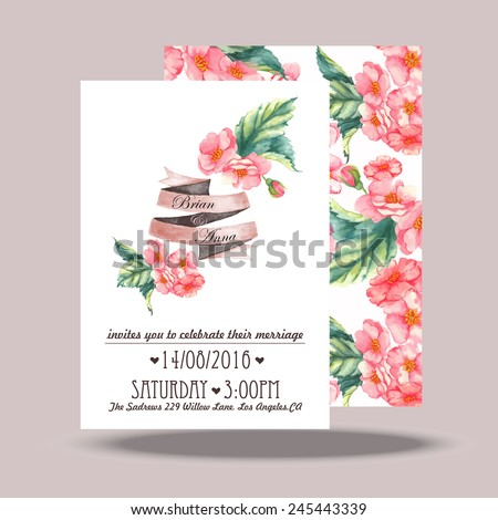 Wedding invitation card template. Hand drawn watercolor design with tender pink flowers and leaves - stock vector