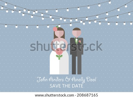Wedding invitation card. Template in flat design style - stock vector