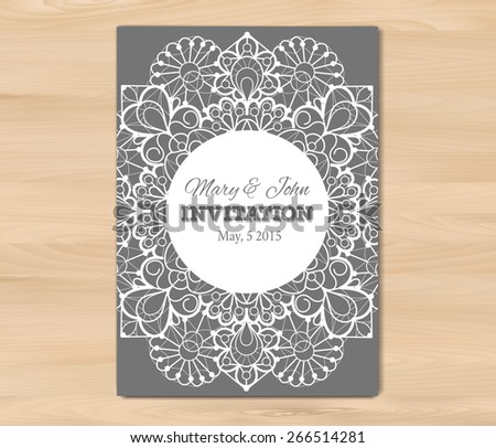 Wedding invitation, card template on a wooden background. Vintage lace design. EPS 10 vector. Free fonts used: Nexa Rust, Alex Brush, Crimson - stock vector