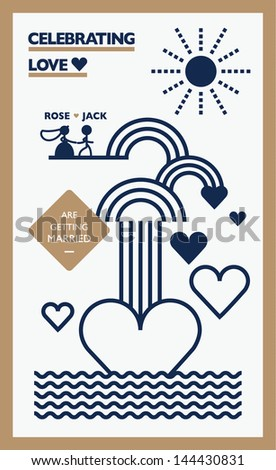 wedding invitation card template vector/illustration/ love fountain - stock vector