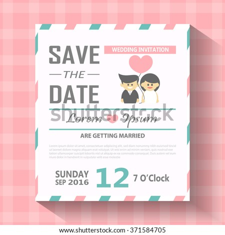 Wedding Invitation Card Template Cute Hipster Vector – Married Invitation Card