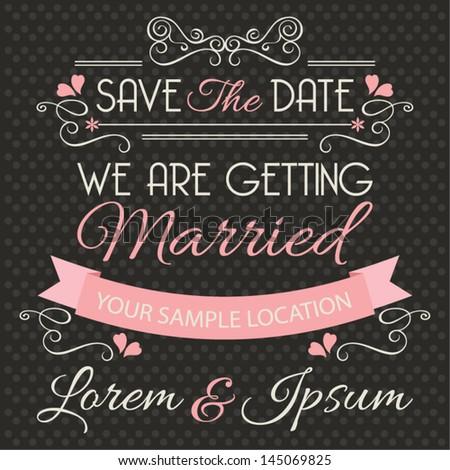 Wedding invitation card template, wedding design elements, vector illustration - stock vector