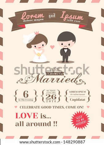 wedding invitation card template with cute groom and bride cartoon - Fun Wedding Invitations