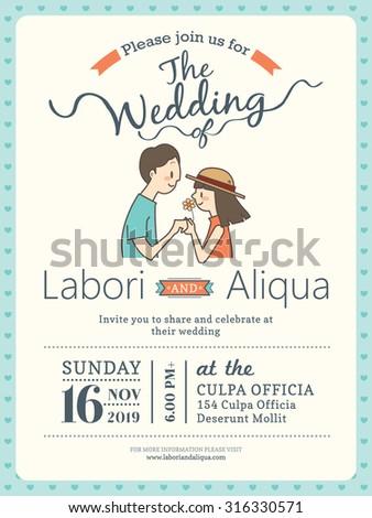 wedding invitation card template with cute groom and bride cartoon - stock vector